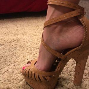 Bebe cork size 7.5 tan platform heels